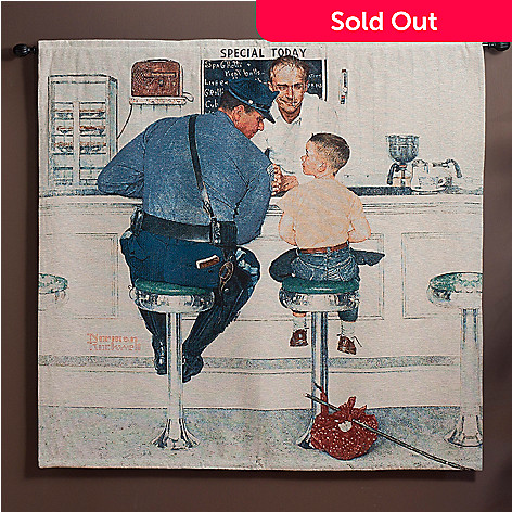 435-665 - ''The Runaway'' by Norman Rockwell 53'' x 55'' Tapestry w/ Adjustable Rod