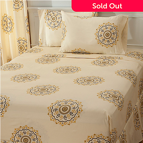 435-704 - North Shore Linens™ 300TC Egyptian Cotton Circle Medallion Four-Piece Sheet Set