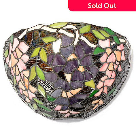 435-835 - Tiffany-Style 7'' Wisteria Floral Stained Glass Wall Light