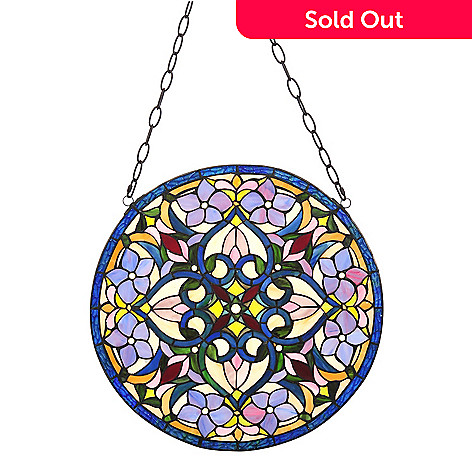 435-837 - Tiffany-Style 20'' Neo-Classical Stained Glass Window Panel