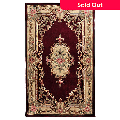 435-842 - Global Rug Gallery Menna 2' x 3' or 5' x 8' Floral Design Hand-Tufted 100% Wool Aubusson-Style Rug