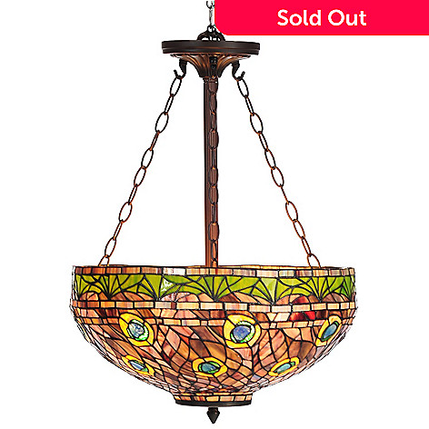 435-887 - Tiffany-Style 50'' Rippled Peacock Stained Glass Hanging Lamp