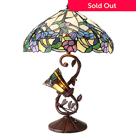 435-890 - Tiffany-Style 25'' Pastel Dreams Limited Edition Double Lit Floral Table Lamp