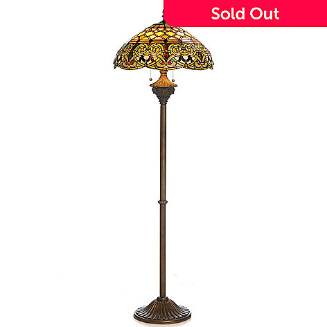435-892 - Tiffany-Style 64'' Knotted Hearts Edwardian-Inspired Stained Glass Floor Lamp