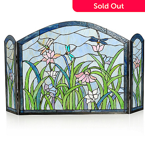 435-894 - Tiffany-Style 27'' Dragonflies & Lilies Floral Stained Glass Fireplace Screen