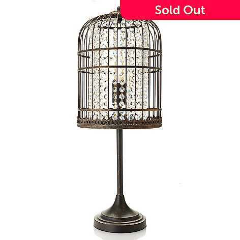 435-903 - Style at Home with Margie 25.5'' Vintage-Style Bird Cage Crystal Table Lamp