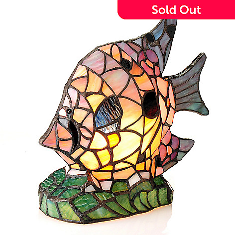 435-909 - Tiffany-Style 10.25'' Aqua Flowers Fish Stained Glass Accent Lamp