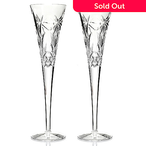 436-079 - Waterford Crystal Sandals Palm Tree Set of Two 11'' Flutes
