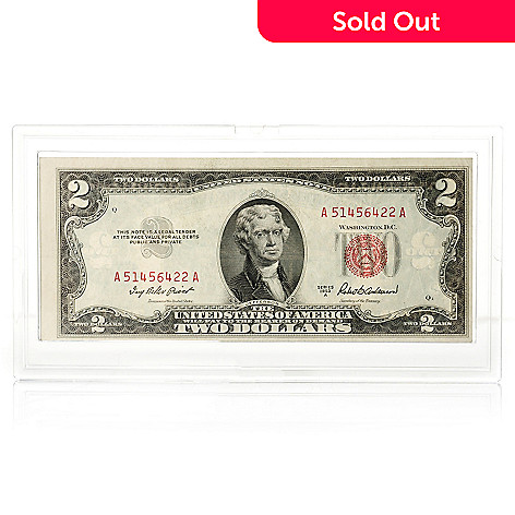 436-111 - 1953 Red Seal UNC $2 Note w/ Plastic Case