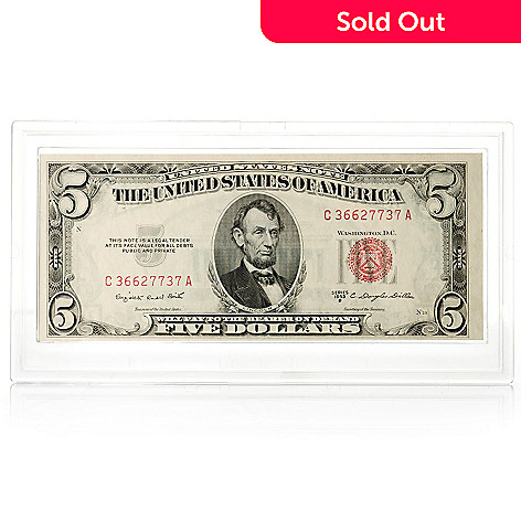 436-113 - 1953 Red Seal UNC $5 Note w/ Plastic Case