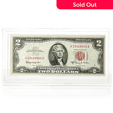 436-115 - 1963 $2 Red Seal UNC Note w/ Plastic Case