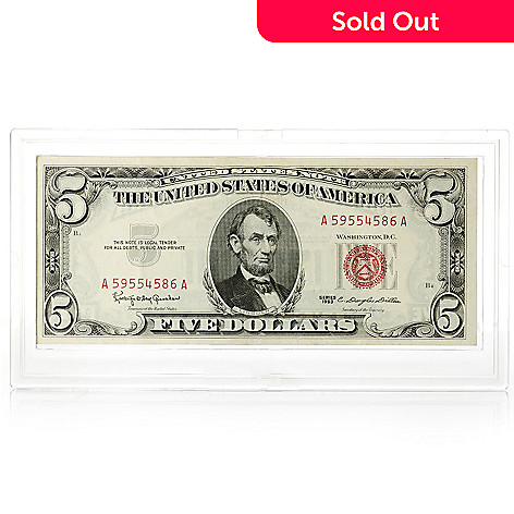 436-117 - 1963 $5 Red Seal UNC Note w/ Plastic Case
