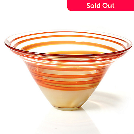 436-227 - Evolution by Waterford Red & Amber 12.5'' Crystal Bowl