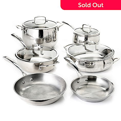 436-240 - Macy's Tools of the Trade Belgique 10-Piece Stainless Steel Cookware Set