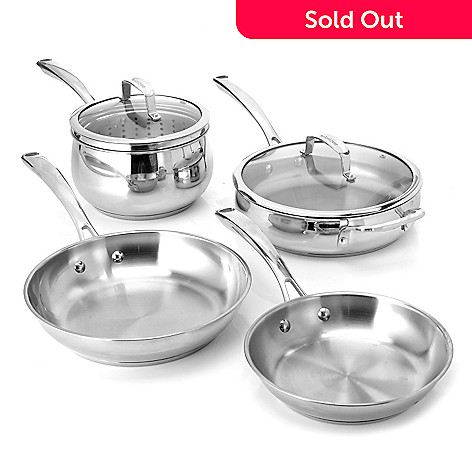 436-241 - Macy's Tools of the Trade Belgique Seven-Piece Stainless Steel Cookware Set