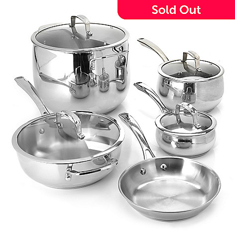 436-242 - Macy's Tools of the Trade Belgique Nine-Piece Stainless Steel Cookware Set