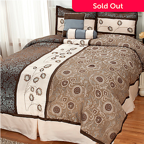 436-244 - North Shore Living™ Floral Embroidered Six-Piece Bedding Ensemble