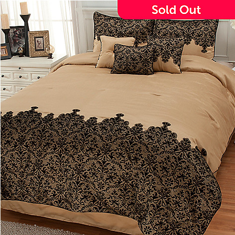 436-245 - North Shore Linens™ ''Mantilla'' Flocked Seven-Piece Bedding Ensemble