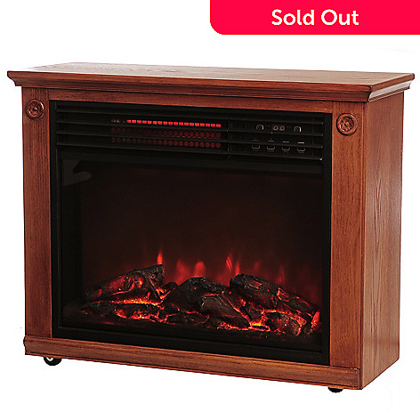 436-282 - LifeSmart 1500W Quartz Infrared Programmable Oak Wood Finished Fireplace Heater
