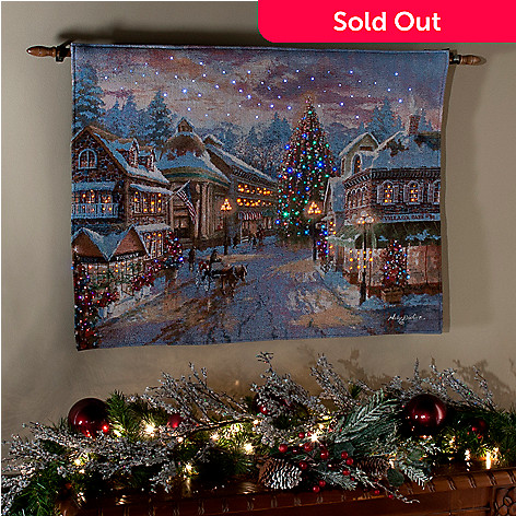 436-292 - ''Christmas Eve'' by Nicky Boehme 26'' x 36'' Fiber Optic Tapestry w/ Rod