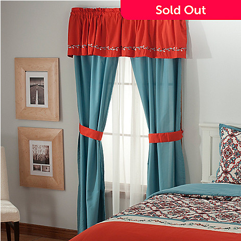 436-353 - North Shore Linens™ ''Callie'' Embroidered Five-Piece Window Set