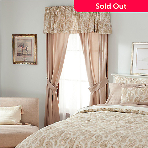 436-399 - North Shore Living™ Paisley Microfiber Five-Piece Window Set