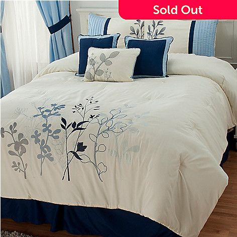 436-404 - North Shore Linens™ Seven-Piece Floral Embroidery Bedding Ensemble