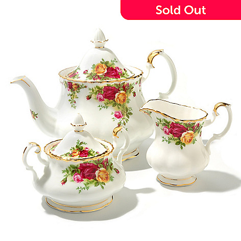 436-421 - Royal Albert Old Country Roses Three-Piece Bone China Tea Set
