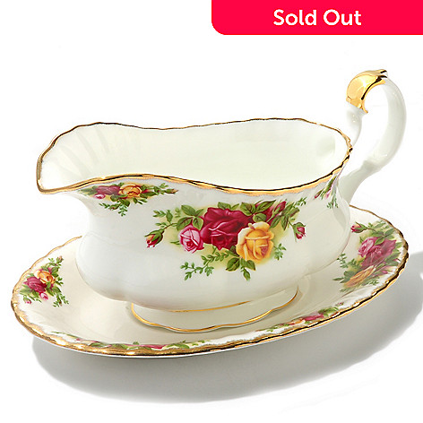 436-423 - Royal Albert®  Old Country Roses Bone China Gravy Boat w/ Stand