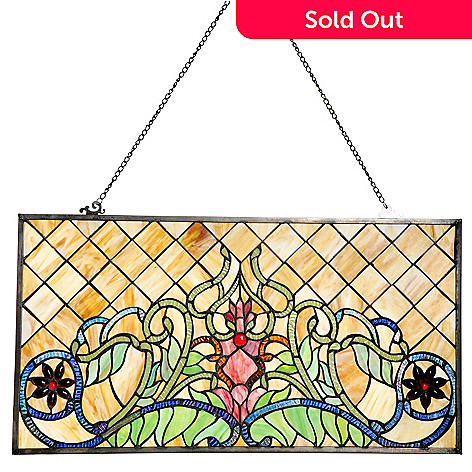 436-518 - Tiffany-Style 14.75'' Blooming Star Lily Stained Glass Window Panel