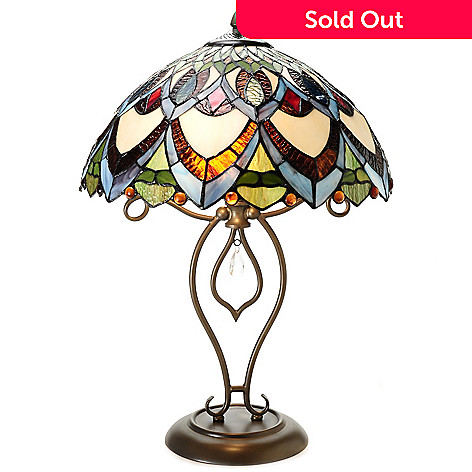 436-525 - Tiffany-Style 23.5'' Kaleidoscope Geometrical Stained Glass Table Lamp