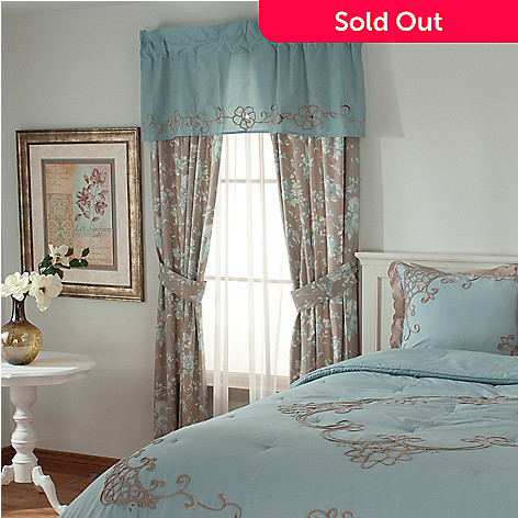 436-544 - Lenox® Cotton Toile Embroidered Five-Piece Window Set for Grand Suites®