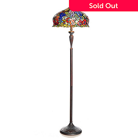 436-564 - Tiffany-Style 64'' Wisteria & Poppy Antique-Style Stained Glass Floor Lamp