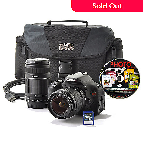 436-588 - Canon EOS Rebel T3i 18MP Digital SLR Camera w/ Two Lenses, 8GB Card, Gadget Bag & Software