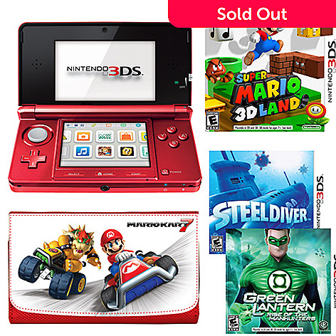 436-610 - Nintendo 3DS Flame Red w/ Bonus Super Mario Land 3D Bundle