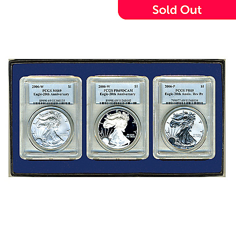 436-642 - 2006 Silver Eagle 20th Anniversary Set of Three Coins
