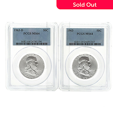 436-644 - 1963 Silver Franklin MS64 PCGS Set of Two Half Dollar Coins