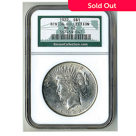 436-646 - 1922 Silver Binion Collection MS62 NGC Peace Dollar Coin