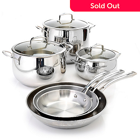 436-660 - Macy's Tools of the Trade Belgique Nine-Piece Stainless Steel Cookware Set