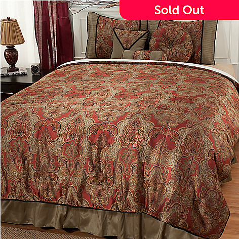 436-674 - North Shore Linens™ Polyester Medallion Jacquard Seven-Piece Bedding Ensemble