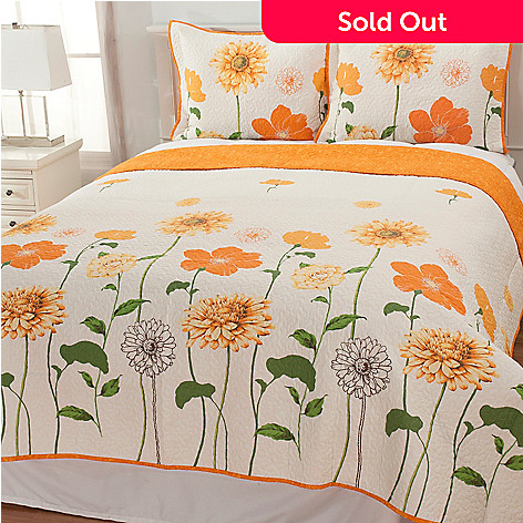 436-675 - North Shore Linens™ ''Floral Sunshine'' Cotton Three-Piece Quilt Set