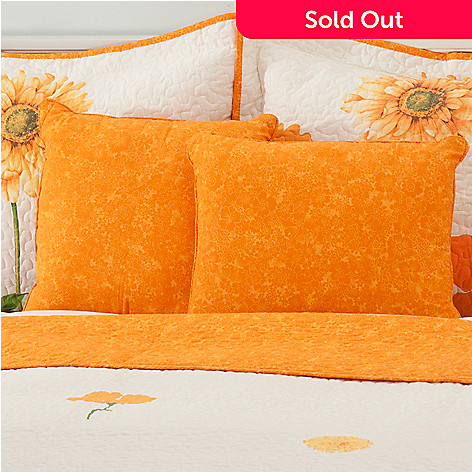 436-676 - North Shore Linens™ Set of Two Floral Cotton Decorative Pillows