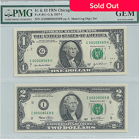 436-838 - 2003 $1 & $2 Matched Number Gem Uncirculated PMG Notes