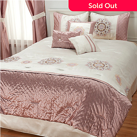 436-879 - North Shore Linens™ Medallion Embroidered Seven-Piece Bedding Ensemble