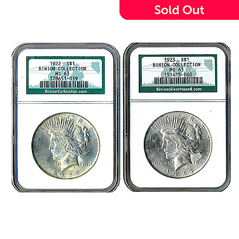 436-996 - 1922 & 1923 Silver Binion Collection MS63 NGC Peace Dollar Coins