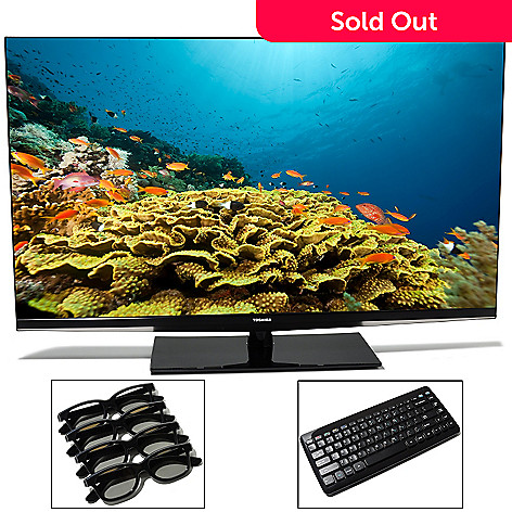 437-022 - Toshiba 1080p HD 120Hz Smart 3D Ultra-Thin LED TV w/ 3D Glasses & Wireless Keyboard