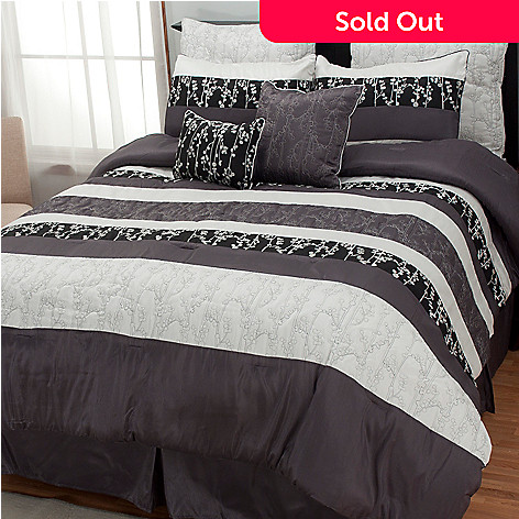 437-028 - North Shore Linens™ ''Midnight Leaf'' Eight-Piece Bedding Ensemble