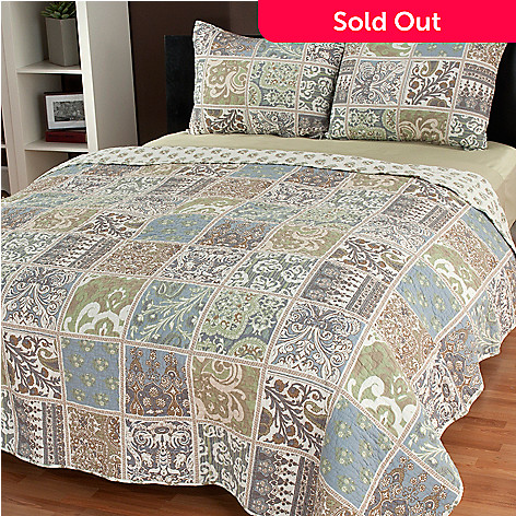 437-061 - North Shore Linens™ ''Ponoma'' Cotton Three-Piece Quilt Set