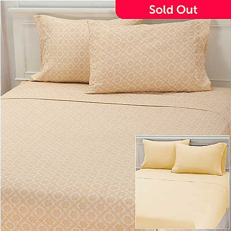 437-065 - Cozelle® ''Larissa'' Set of Two Microfiber Four-Piece Sheet Sets