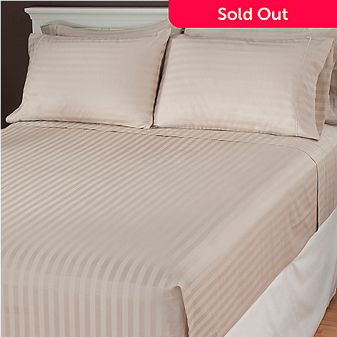 437-117 - 600TC Easy Care Damask Stripe Six-Piece Sheet Set